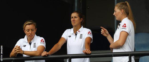 England's Danielle Hazell, Jenny Gunn and Sophie Ecclestone