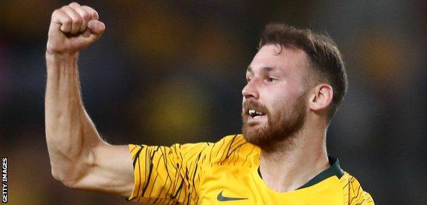 Hibernian's Martin Boyle celebrates scoring for Australia