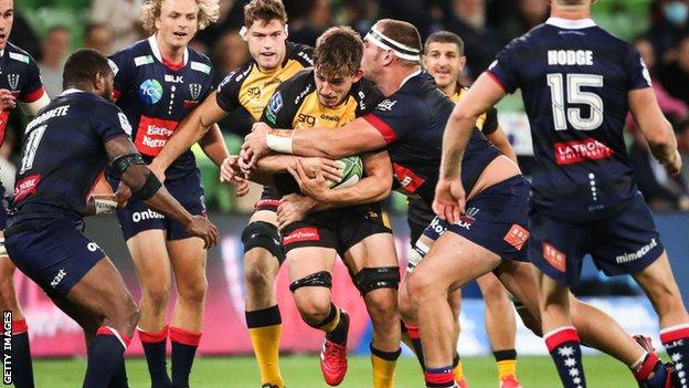 Tomos Lezana in action for Western Force against Melbourne Rebels in 2021