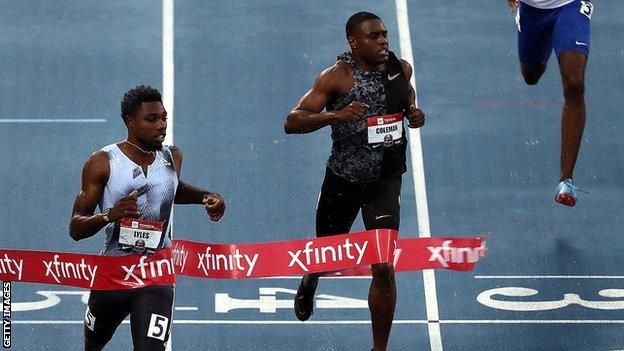 Noah Lyles (left) beat Coleman is the 200m of the US Championships in July