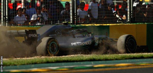 Valtteri Bottas runs wide during practice session