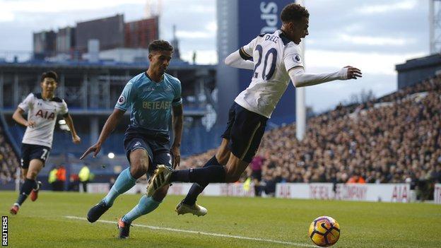Dele Alli goes down for Tottenham