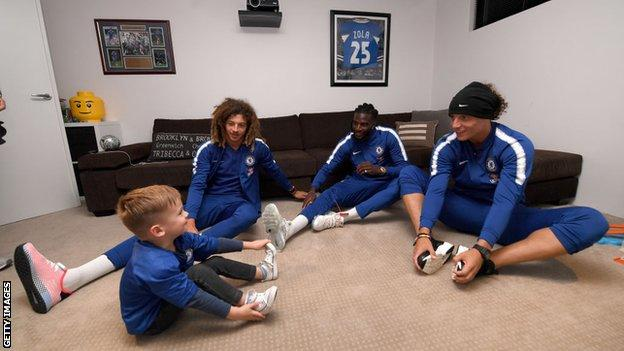 Hudson McCarthy with Chelsea's David Luiz, Tiemoue Bakayoko and Ethan Ampadu