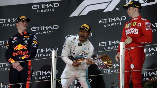 Lewis Hamilton on the podium