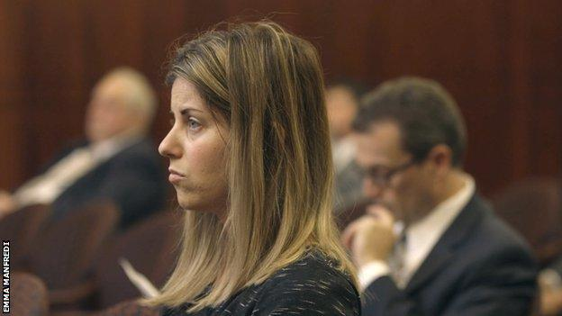 Maria Pinzon in court, sideways.