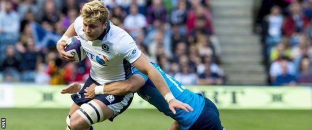 David Denton carries for Scotland