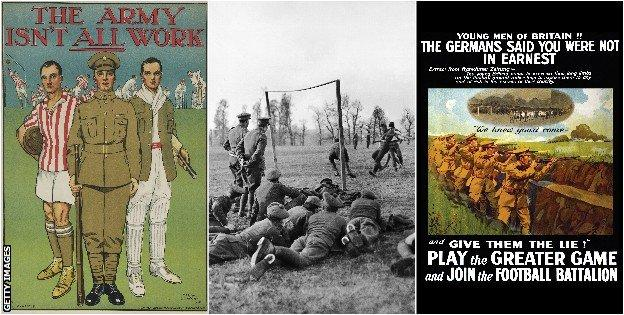 Recruitment posters target footballers and fans (left and right) and soldiers play football in Salonika, Macedonia in 1915