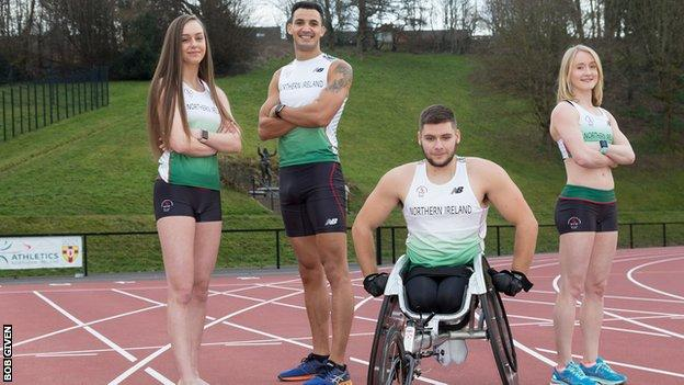 Adam McMullen (second from left) with Northern Ireland track and field team-mates Sommer Lecky, Jack Agnew and Amy Foster