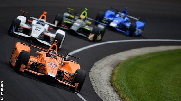 Fernando Alonso leads Indy 500