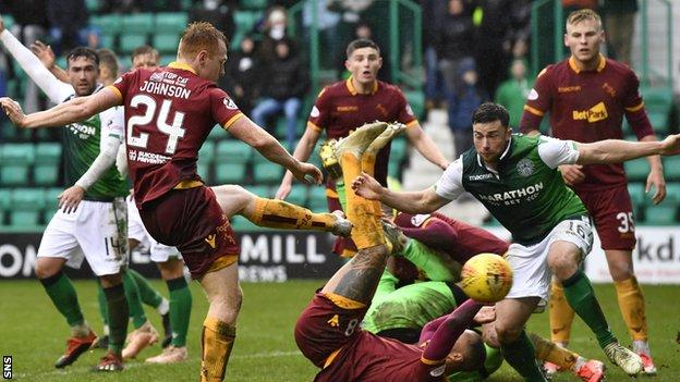 Motherwell's Danny Johnson has a late goal disallowed