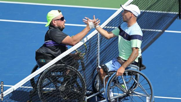 Dylan Alcott and Andy Lapthorne at the 2019 US Open