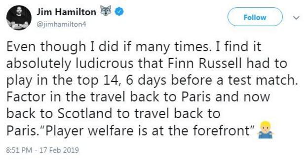 Jim Hamilton's tweet