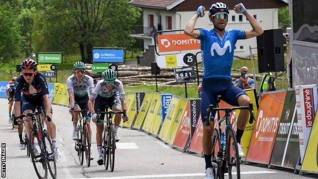 Alejandro Valverde celebrates winning stage six of the 2021 Criterium du Dauphine