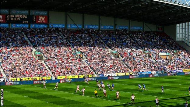 Super League fans packed into grounds like the DW Stadium