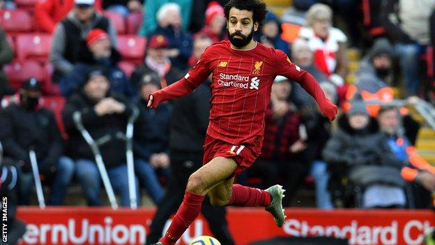 Liverpool's man of the match Mohamed Salah