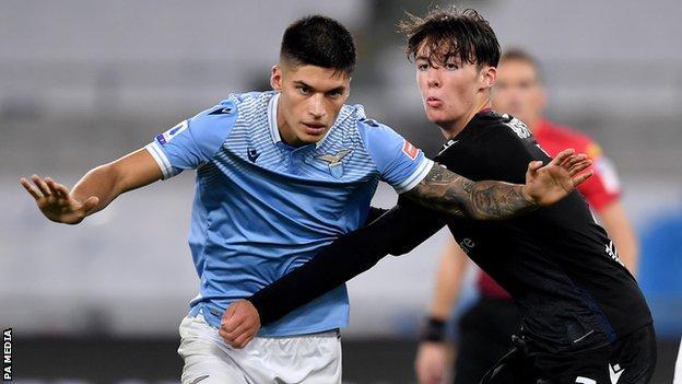 Lazio's Joaquin Correa and Bologna's Aaron Hickey