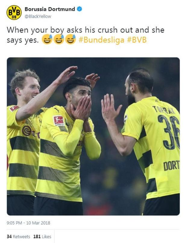 """The tweet reads """"When your boy asks his crush out and she says yes"""" - with a n image of an emotional goalscorer"""
