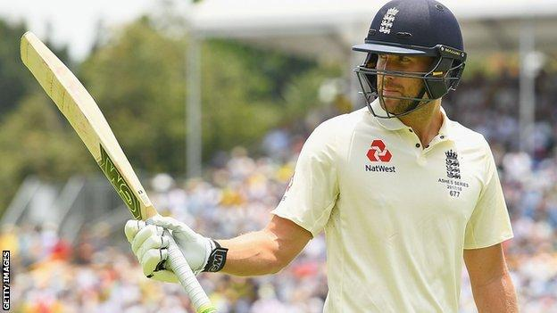 Dawid Malan departs for 140 in the third Ashes Test in Perth in 2017