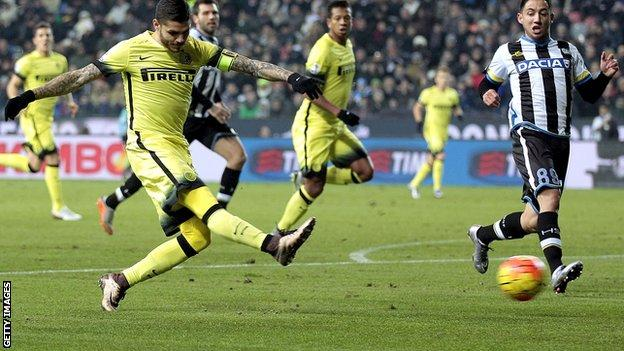 Mauro Icardi scoring for Inter Milan at Udinese