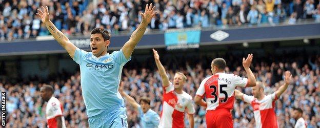 Sergio Aguero celebrates against QPR