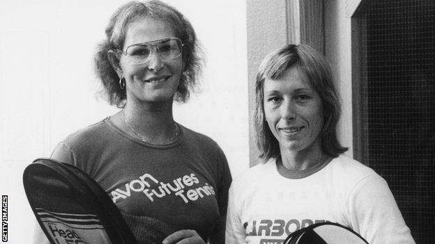 Renee Richards and Martina Navratilova after a training session in Germany