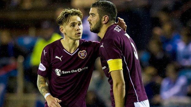Hearts' Alim Ozturk (right) celebrates his goal against Kilmarnock with team-mate Sam Nicholson