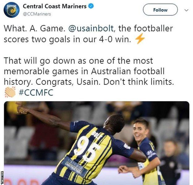 Central Coast Mariners tweet