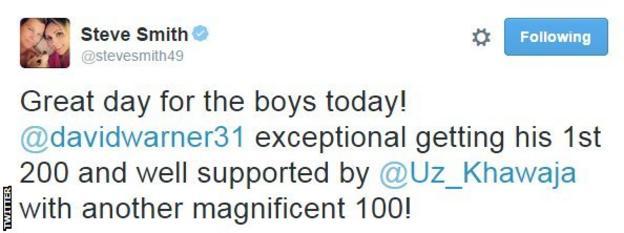 Australia captain Steve Smith saluted Warner's achievements on Twitter