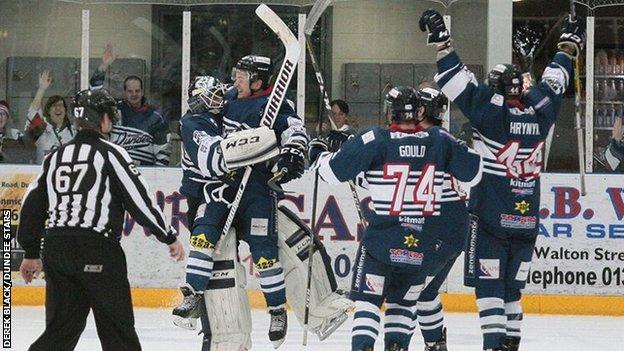 Dundee Stars celebrate beating league leaders Manchester Storm on penalty shots on Saturday