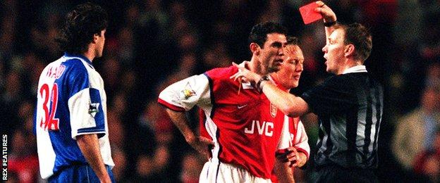 Arsenal's Martin Keown is sent off in their 1-0 win over Blackburn Rovers in April 1999.