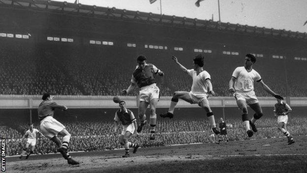 A still from the match between Arsenal and Manchester United at Highbury on 1 February 1958