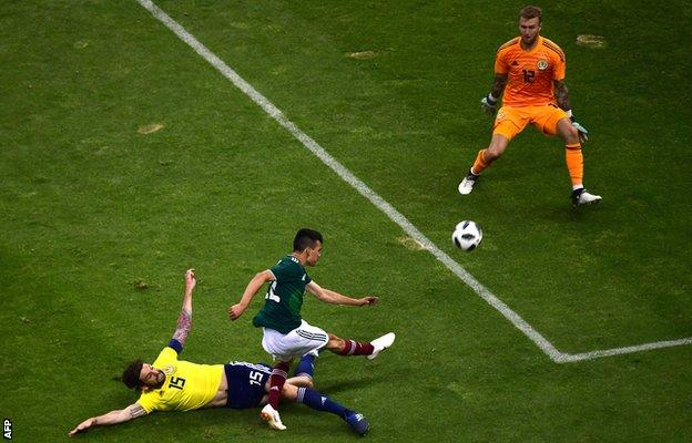 Mexico's Hirving Lozano fires against the bar