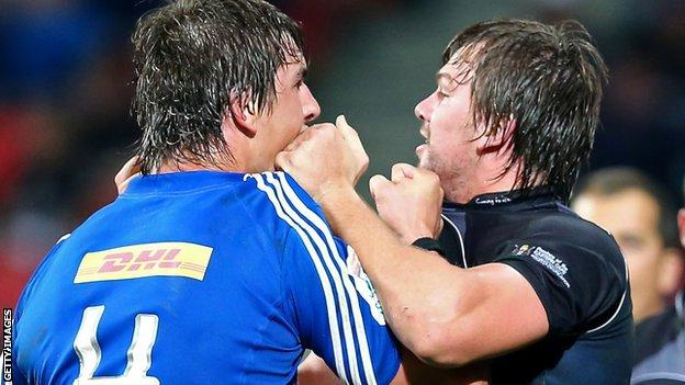 David Bulbring (right), then of Southern Kings, clashes with South Africa and Stormers lock Eben Etzebeth