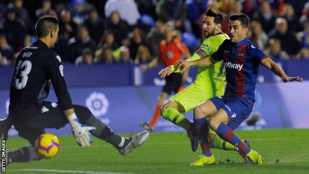 Messi scores hat-trick & assists two as Barca thrash Levante