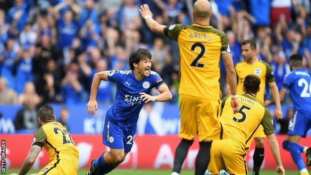 Shinji Okazaki celebrates scoring for Leicester against Brighton