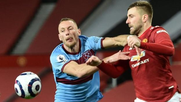 Luke Shaw (right) in action for Manchester United against West Ham in the Premier League in 2020-21