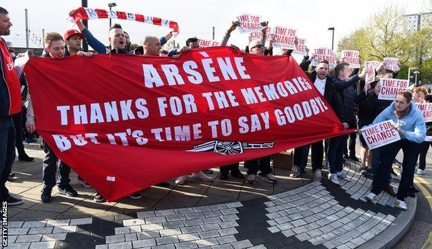 Arsenal fans protesting outside the stadium before kick-off