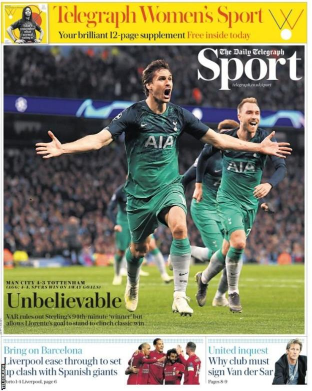 Thursday's Daily Telegraph back page