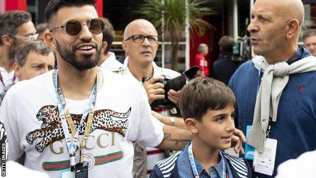 Manchester City striker Sergio Aguero at the Italian Grand Prix