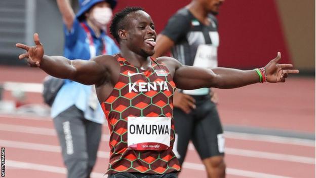Kenya's Ferdinand Omurwa Omanyala at the 2020 Olympics in Tokyo