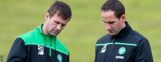 Celtic coach John Kennedy (right) has rubbished talk of a crisis at the club