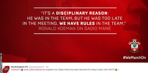 Southampton tweet on Sadio Mane