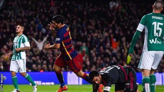 Louis Suarez celebrates scoring against Real Betis
