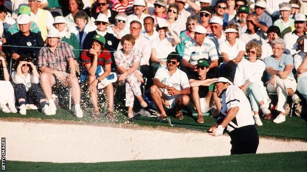 Ray Floyd playing out of a bunker at Augusta in 1990