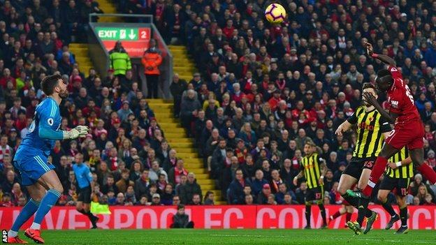 Sadio Mane heads Liverpool ahead against Watford