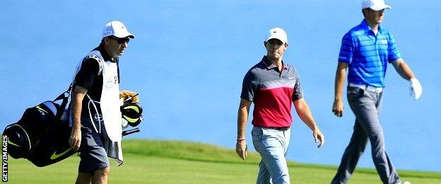 Rory McIlroy of Northern Ireland and Jordan Spieth of the United States