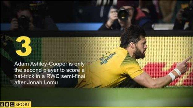 Adam Ashley-Cooper is only the second player to score a hat-trick in a RWC semi