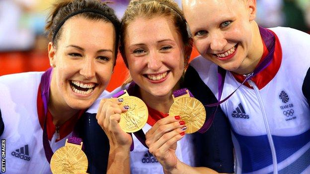 Dani King, Laura Trott, and Joanna Rowsell with their London 2012 gold medal