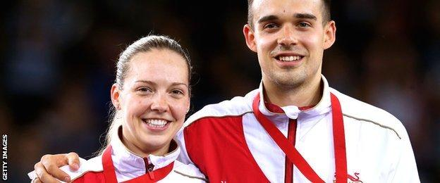 Gabby and Chris Adcock celebrate in Glasgow
