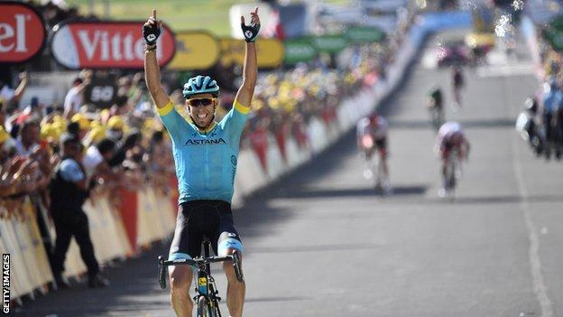 Omar Fraile celebrates by pointing to the sky after winning stage 14 of the 2018 Tour de France
